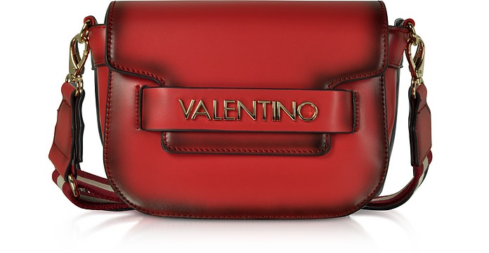 Eco Leather Blast Small Shoulder Bag w/Canvas Strap - Valentino by Mario Valentino