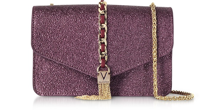 Eco Crackled Metallic Leather Burlesque Small Shoulder Bag - Valentino by Mario Valentino
