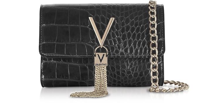 Audrey Croco Embossed Eco Leather Shoulder Bag - Valentino by Mario Valentino