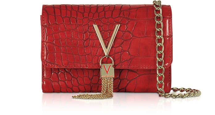 Audrey Croco Embossed Eco Leather Shoulder Bag - Valentino by Mario Valentino