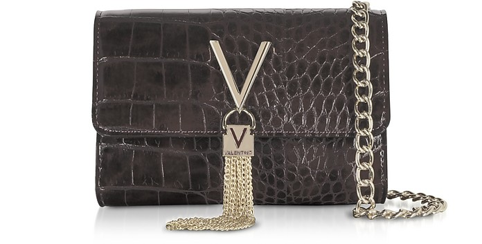 Audrey Croco Embossed Eco Leather Shoulder Bag - Mario Valentino