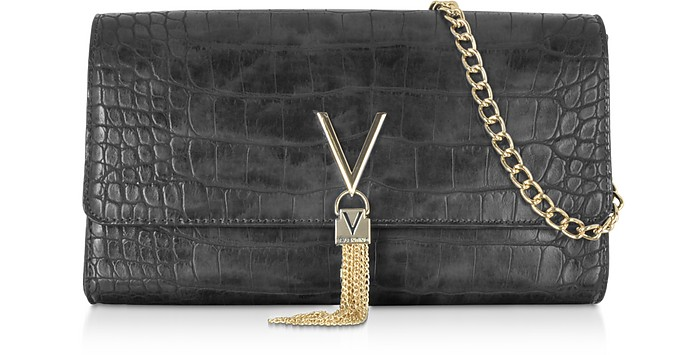 Audrey Croco Embossed Eco Leather Clutch - Valentino by Mario Valentino