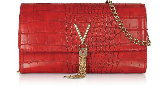 Audrey Croco Embossed Eco Leather Clutch - Valentino by Mario Valentino
