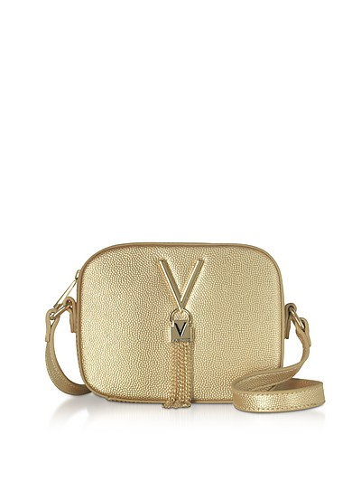 Gold Lizard Embossed Eco Leather Divina Mini Crossbody Bag - Valentino