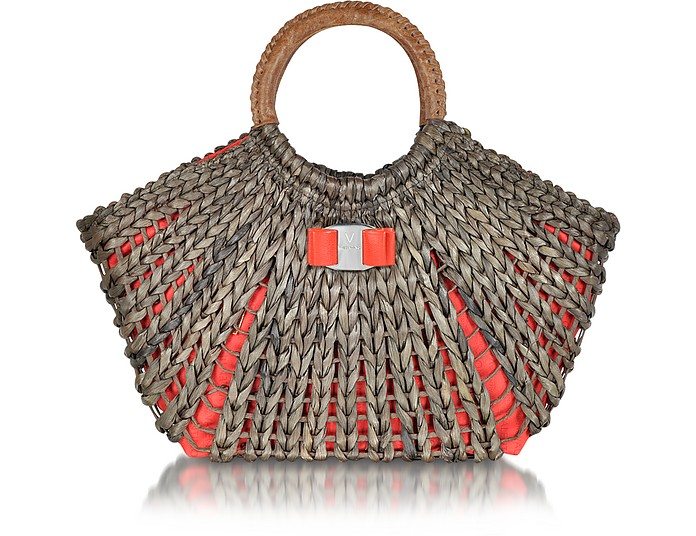 Giuily - Large Straw and Eco Leather Tote - Valentino by Mario Valentino
