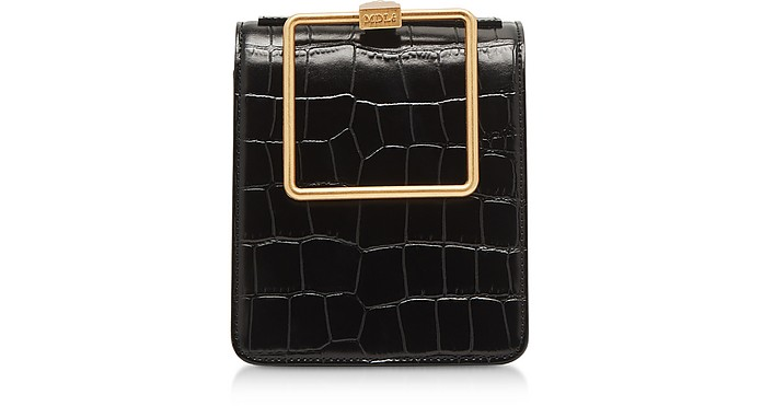 Black Croco Embossed Leather Large Pump Handle Satchel Bag - Marge Sherwood