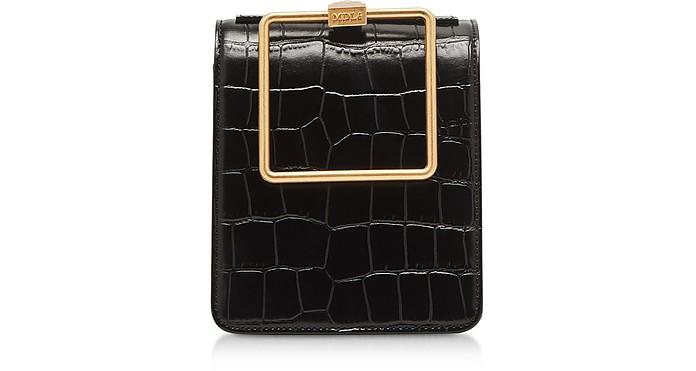 Black Croco Embossed Leather Large Pump Handle Satchel Bag - Marge Sherwood / マージシャーウッド