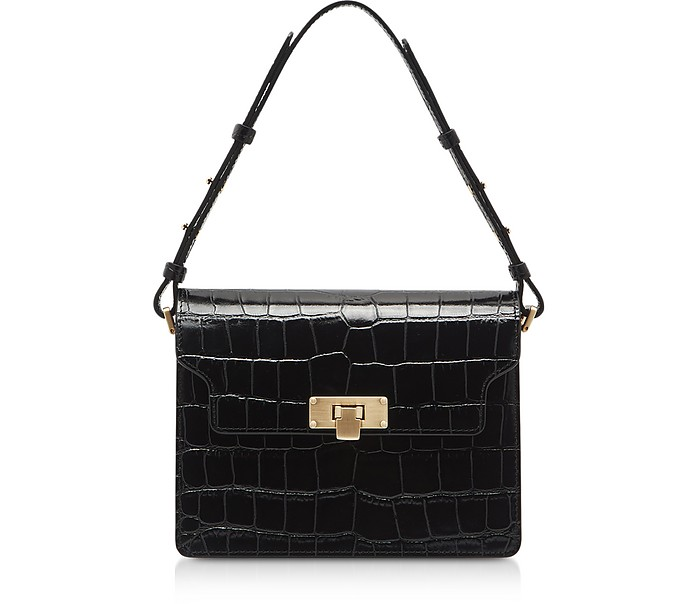 Black Croco Embossed Leather Vintage Brick Shoulder Bag - Marge Sherwood