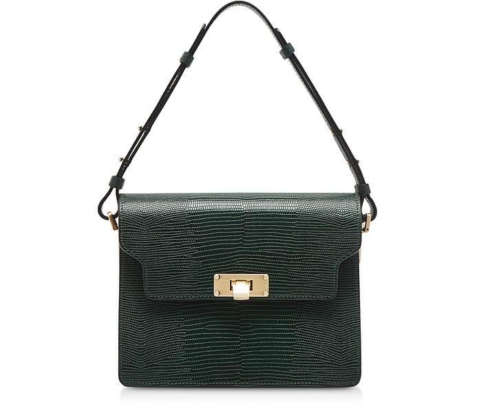 Lizard Embossed Leather Vintage Brick Shoulder Bag - Marge Sherwood