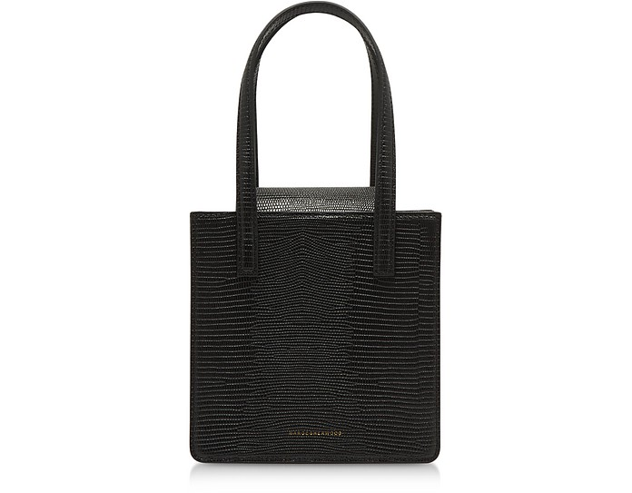 Square Black Lizard Embossed Leather Tote Bag - Marge Sherwood