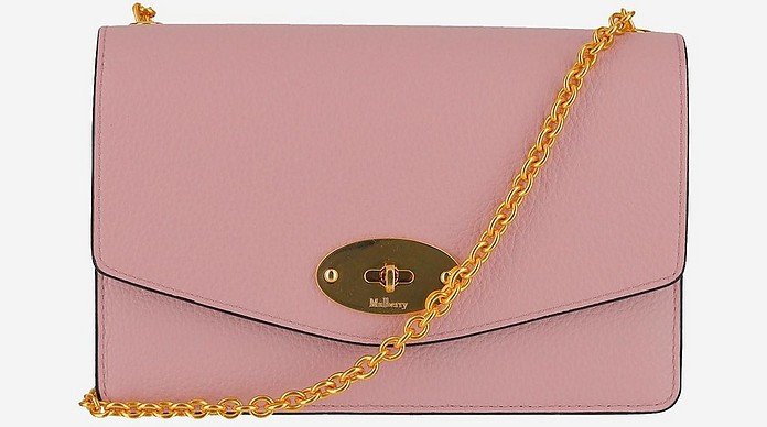 Pink Leather Small Darley Shoulder Bag - Mulberry