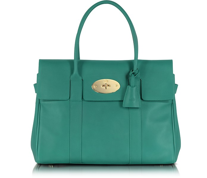 Bayswater Emerald Green Micrograin Calf Leather Tote - Mulberry