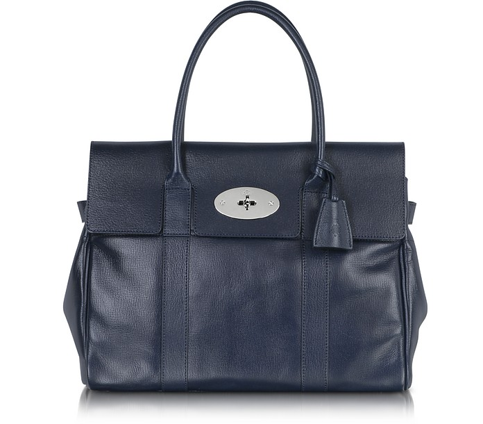 Midnight Blue Shiny Goat Bayswater Tote - Mulberry
