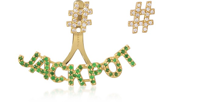#Jackpot 18K Gold, 0.40 ctw Tsavorite and 0,28 ctw Diamonds Earrings - Makova Jewelry