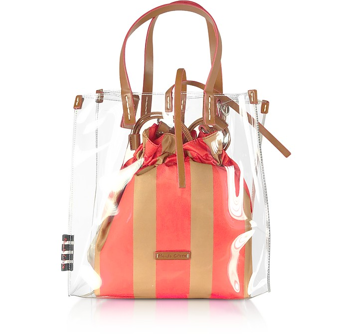 Transparent Tote Bag w/Striped Pouch - Manila Grace