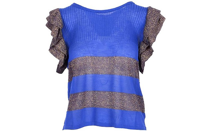 Purple Lurex Ruffle Women's T-Shirt - Manila Grace
