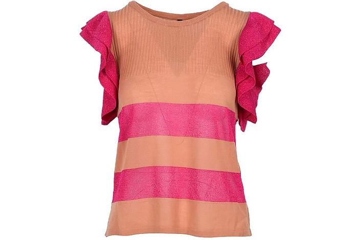 Salmon Pink Lurex Ruffle Women's T-Shirt - Manila Grace
