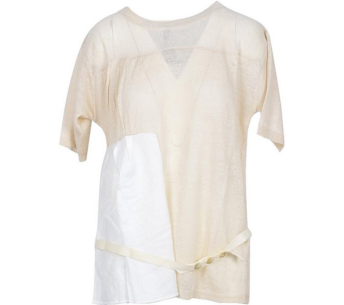White and Beige Linen Belted Women's T-Shirt - Manila Grace