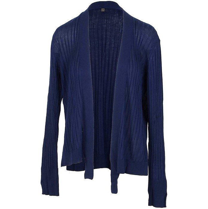 Navy Blue Lyocell Women's Cardigan Sweater - Manila Grace