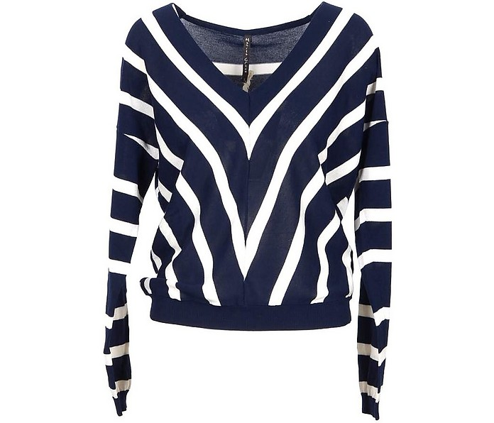 White and Blue Cotton Women's V-Neck Sweater - Manila Grace