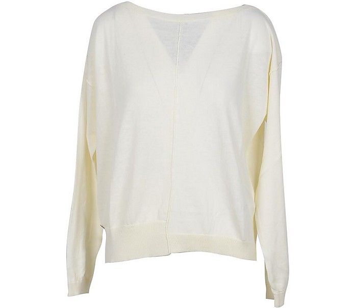 White Cotton Women's Sweater - Manila Grace