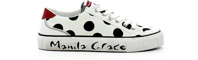 White Oversized Polka-Dots Sneakers - Manila Grace / マニラグレース