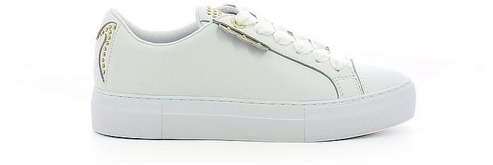 White Leather Sneakers w/Golden Studs - Manila Grace / マニラグレース