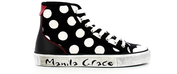 Black Oversized Polka Dots High-Top Sneakers - Manila Grace / マニラグレース