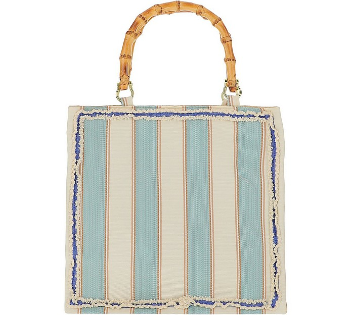 Aqua Green Striped Canvas Tote bag w/Bamboo Handles - LaMILANESA