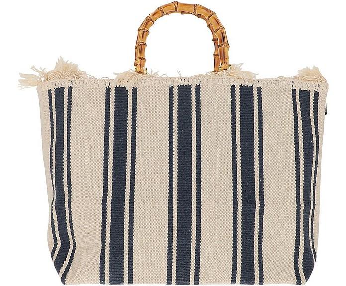 Large Blue Stripes Canvas Tote bag w/Bamboo Handles - LaMILANESA