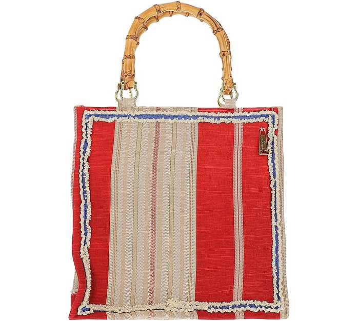 Red Striped Canvas Tote bag w/Bamboo Handles - LaMILANESA