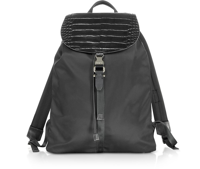ca19174163 Neil Barrett Black Embossed Croco Leather and Nylon Rucksack at FORZIERI