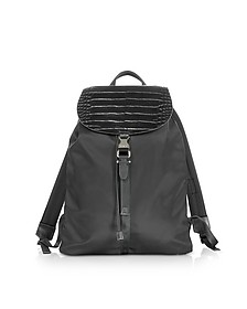Black Embossed Croco Leather and Nylon Rucksack - Neil Barrett