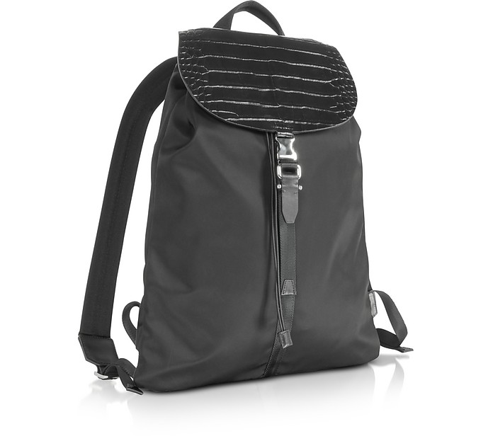 1dd52eccc5 Black Embossed Croco Leather and Nylon Rucksack - Neil Barrett. Sold Out