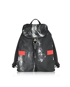 Black/White Liquid Ink Printed Nylon Rucksack w/Red Leather Band - Neil Barrett