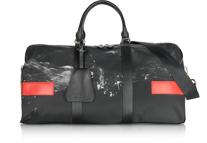 Black/White Liquid Ink Printed Nylon Gym Bag w/Red Leather Band - Neil Barrett