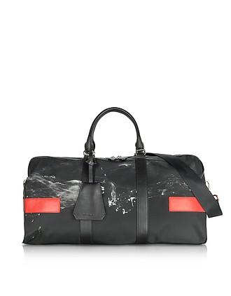 7ba570283d42 Black White Liquid Ink Printed Nylon Gym Bag w Red Leather Band - Neil