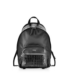 Black Embossed Croco Leather and Nylon Classic Backpack - Neil Barrett