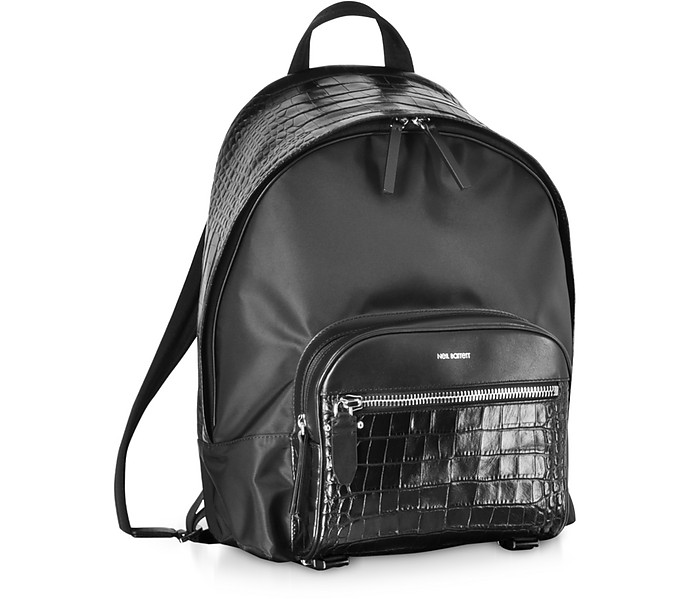 9af6acca2c Neil Barrett Black Embossed Croco Leather and Nylon Classic Backpack ...