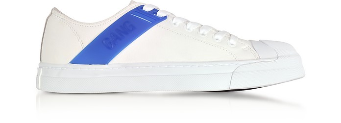 Gang Trainer White Leather and Cobalt Blue Rubber Sneakers - Neil Barrett