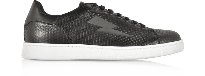 Black Embossed Leather Thunderbolt Tennis Sneakers - Neil Barrett