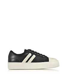 Black/Off White Leather Skateboard Sneakers - Neil Barrett