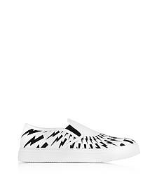 Sneaker Slip on in Tessuto Nero e Bianco Stampa Optical - Neil Barrett