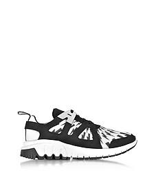 Molecular Black Neoprene and White Printed Nylon Runner Sneakers - Neil Barrett