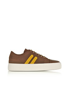 Cognac/Buttercup Perforated Fabric and Nappa Leather Skateboard Sneakers - Neil Barrett