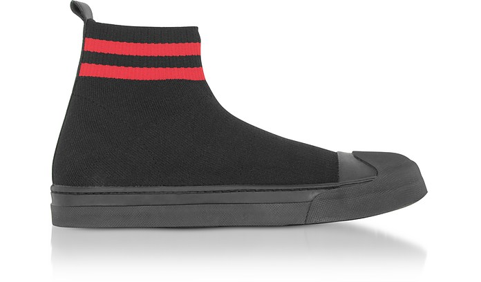 Black/Red Tech Knit Fabric Skater Boots - Neil Barrett