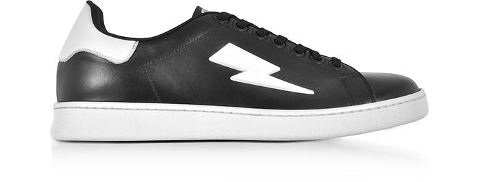 Black and White Leather Thunderbolt Tennis Sneakers - Neil Barrett