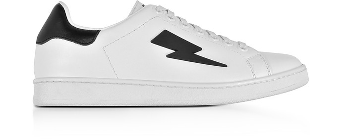 White and Black Leather Thunderbolt Tennis Sneakers - Neil Barrett