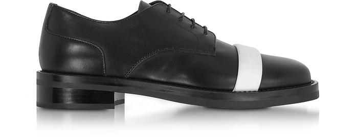 Black Leather Derby Shoes w/White Strap - Neil Barrett