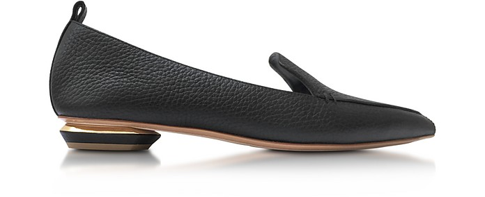 4758fcaa1f6 Nicholas Kirkwood Beya Point-Toe Grained-Leather Loafers In Black ...